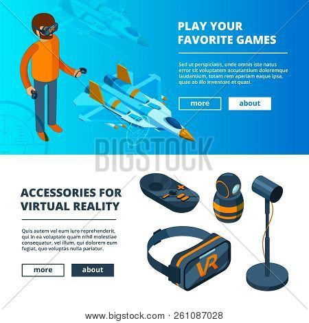 VR banners. Virtual game simulation portable reality equipment helmet headset glasses vector isometric pictures. Helmet device, headset innovation for video gaming illustration stock photo