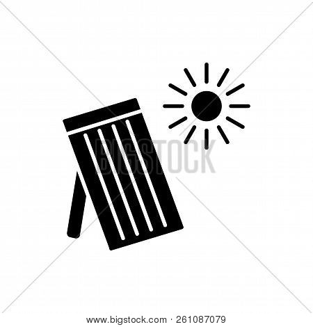 Black & white vector illustration of solar thermal panel. House heating system. Flat icon. Isolated object on white background. stock photo