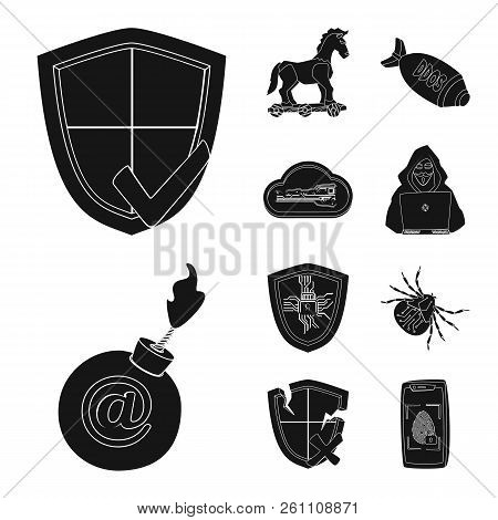 Vector design of virus and secure logo. Set of virus and cyber stock symbol for web. stock photo