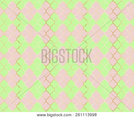 Arabian Mosque Vector Seamless Pattern. Argyle rhombus muslim textile background. Traditional mosque pattern with gold grid. Chic islamic argyle seamless design of lantern lattice shape tiles. stock photo