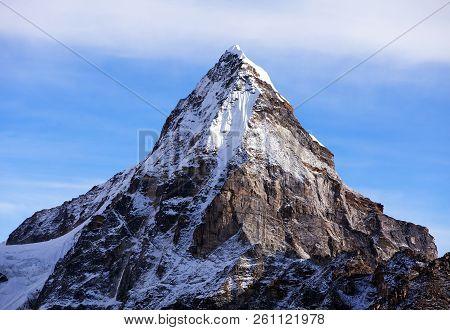 Mount Cholo or Chola, beautiful mount in Gokyo valley, Sagarmatha national park, Khumbu valley, Nepal Himalayas mountains stock photo