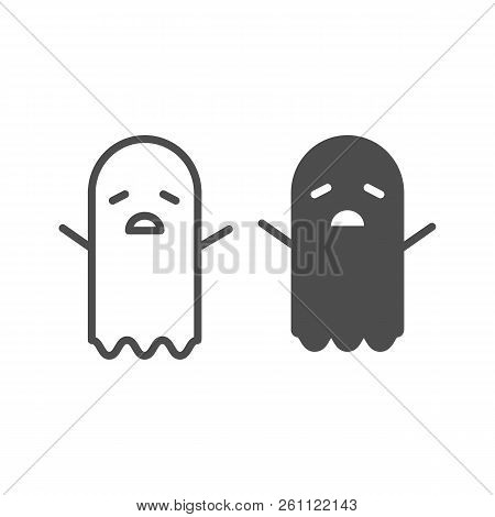 Spooky ghost line and glyph icon. Halloween ghost vector illustration isolated on white. Phantom outline style design, designed for web and app. Eps 10. stock photo