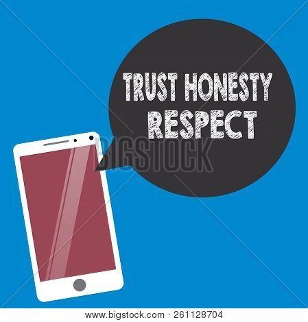 Conceptual hand writing showing Trust Honesty Respect. Business photo text Respectable Traits a Facet of Good Moral Character stock photo