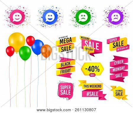 Balloons party. Sales banners. Speech bubble smile face icons. Happy, sad, cry signs. Happy smiley chat symbol. Sadness depression and crying signs. Birthday event. Trendy design. Vector stock photo