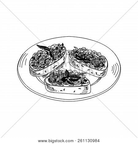 Vector hand drawn bruschetta antipasti. Dishes of Italian cuisine. Detailed retro style Illustration. Vintage sketch element for labels, packaging and cards design. Modern background. stock photo