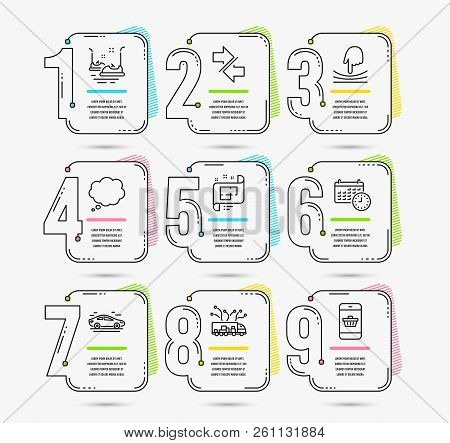 Infographic template with numbers 9 options. Set of Synchronize, Comic message and Bumper cars icons. Architectural plan, Elastic and Calendar signs. Truck delivery, Car and Smartphone buying symbols stock photo