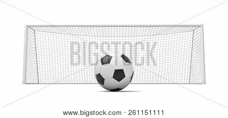 3d rendering of a black and white football standing ball in front of empty gates. stock photo