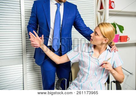 Woman office administrator suffer sexual assault and harassment. Sexual assault at workplace. Banned relations at work. Harassment and abuse concept. Boss unacceptable behavior subordinate employee stock photo
