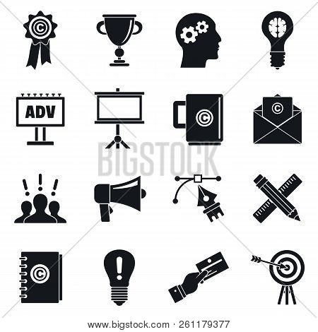 Brand marketing icon set. Simple set of brand marketing vector icons for web design on white background stock photo