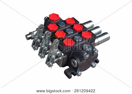 hydraulic distributor of the tractor on isolated white background stock photo