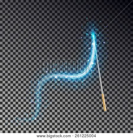 Magic wand vector. Transparent miracle stick with glow blue light tail isolated on dark background. Wizards magic wand effect. Magician fairy stick lights. Vector illustration. stock photo