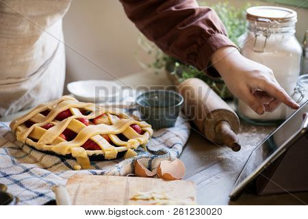Homemade mixed berry pie food photography recipe idea stock photo
