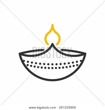 Decorative diwali lamp icon. Vector thin line illustration design object with flame burning stock photo