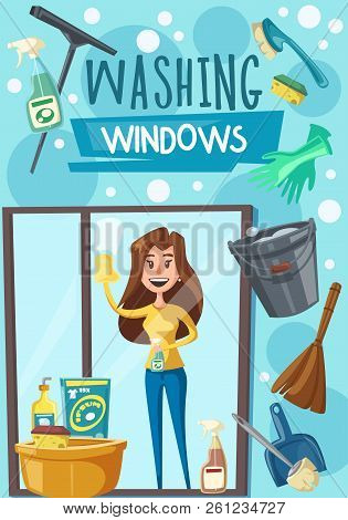 Washing windows poster with housewife, household chore and housekeeping. Housewife with cloth and cleaner sprayer washes or polishes glass. Broom and bucket, scoop and brushes, gloves and basin vector stock photo