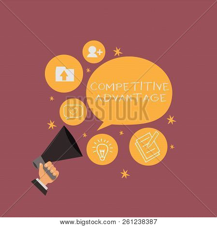 Text sign showing Competitive Advantage. Conceptual photo Company Edge over another Favorable Business Position stock photo