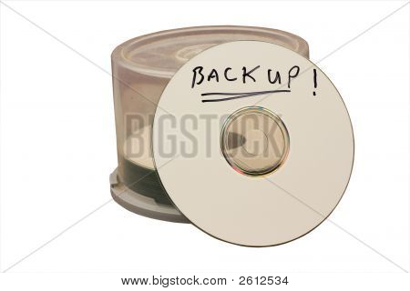 computer cd disk with backup written with marker pen stock photo