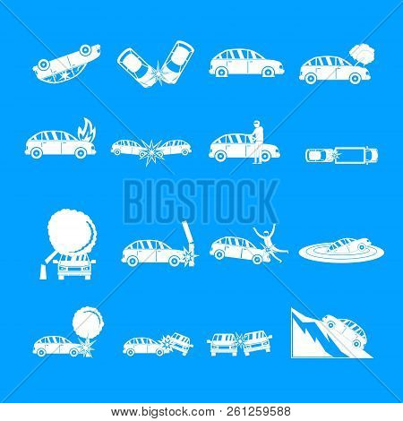 Accident car crash case icons set. Simple illustration of 16 accident car crash case icons for web stock photo