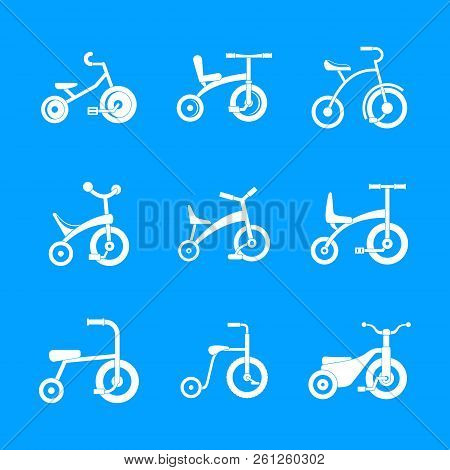 Tricycle bicycle bike wheel icons set. Simple illustration of 9 tricycle bicycle bike wheel icons for web stock photo