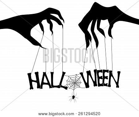 Happy halloween day banner. letters design composition stock photo