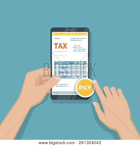 Paying taxes using smartphone. Online pay tax, bookkeeping, accounting via phone. Man holding a mobile phone with tax form on screen. Fast payment of bills, invoices. Vector illustration stock photo