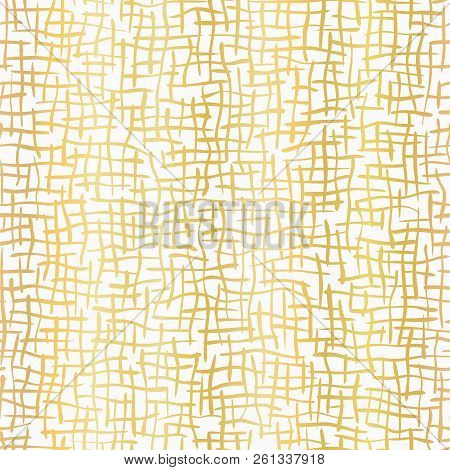 Luxe Gold Woven Burlap Texture Hand Drawn Vector Pattern Background stock photo