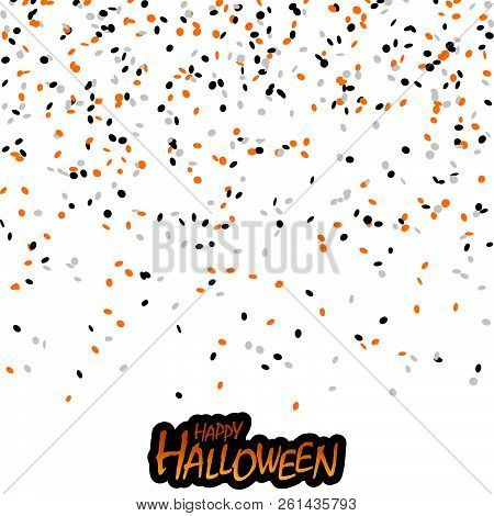 seamless confetti background with black, orange and white confetti for Halloween layouts stock photo