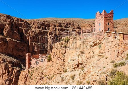 Dades Gorge is a gorge of the Dades River and lies between the Atlas Mountains and the Jbel Saghro of the Anti Atlas mountain range in Morocco stock photo