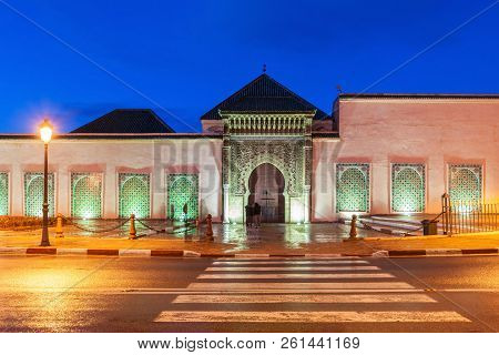 The Mausoleum of Moulay Ismail in Meknes in Morocco. Mausoleum of Moulay Ismail is a tomb and mosque located in the Morocco city of Meknes. stock photo