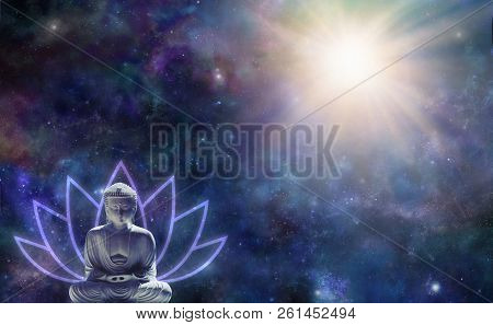 Buddhism Enlightenment Background - Buddha in seated position with a lotus flower symbol behind against a dark starry night sky with a magnificent light burst in the top right corner and copy space stock photo