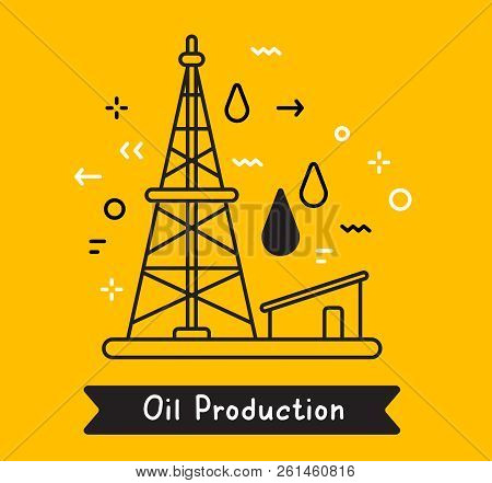 Vector business illustration of black oil derrick with fuel drop on yellow background. Oil production creative linear concept. Flat line art style design for web, site, banner, presentation stock photo