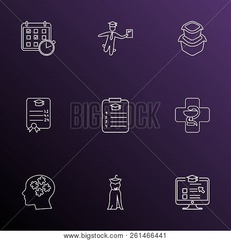 School icons line style set with food container, online course, medicine and other planner elements. Isolated  illustration school icons. stock photo