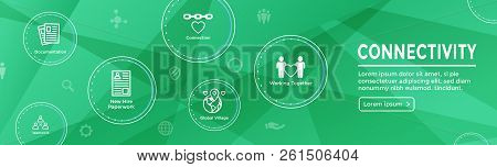 Connectivity Web Header Banner with Togetherness, Connectnedness & Collaboration Icon Set stock photo