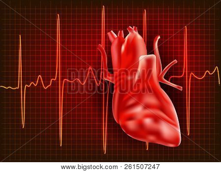 Realistic illustration of a line with the ECG pulse heartbeat. Vector illustration. stock photo