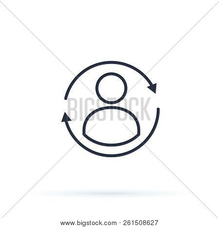 Update profile, personal account icon, change avatar, reset settings, synchronize user. Flat line vector modern ui icon with round arrow button concept. Website icon customer account, personal avatar stock photo