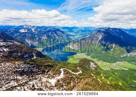 Hallstatter See lake and Dachstein austrian Alps mountains aerial panoramic view from Five Fingers viewpoint in Salzkammergut region, Austria. stock photo