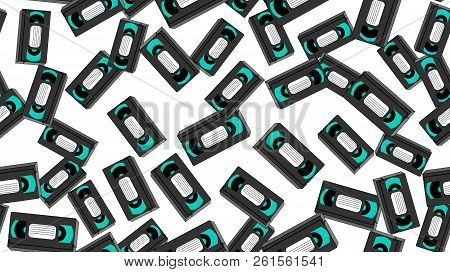 Texture, seamless pattern of old retro wines gray antique analog hipster film video cassettes for a video recorder with a magnetic film for watching movies. stock photo