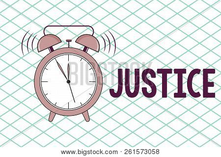 Conceptual hand writing showing Justice. Business photo showcasing Quality of being just impartial or fair Administration of law rules stock photo