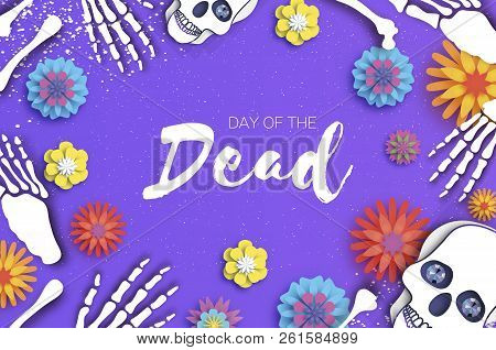 Day of the dead. Paper cut skull for mexican celebration. Traditional mexico skeleton. Dia de muertos. Mexican holiday. Purple. Space for text. Origami flower. stock photo