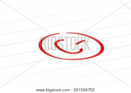 C minus examination result grade red latter mark. stock photo