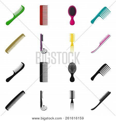 Vector design of brush and hair symbol. Set of brush and hairbrush stock symbol for web. stock photo