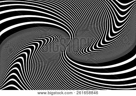 Abstract op art design. Illusion of whirl movement. Wavy lines texture. Vector illustration. stock photo