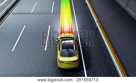 modern concept of a safe car Collision monitoring system 3d render image stock photo