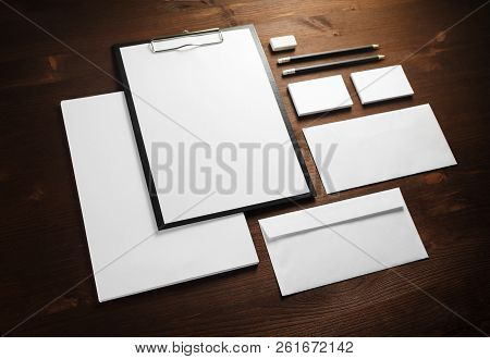 Blank corporate stationery on wooden background. Template for branding identity. stock photo