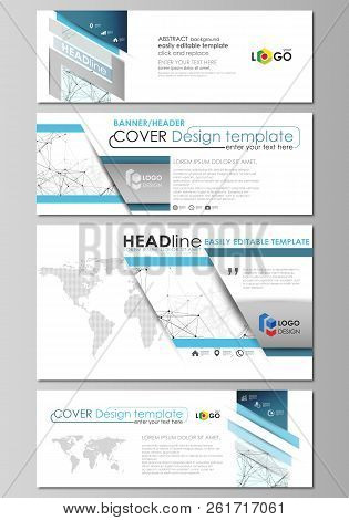 Social media and email headers set, modern banners. Business templates. Abstract design template, vector layouts. Chemistry pattern, connecting lines and dots, molecule structure on white background. stock photo