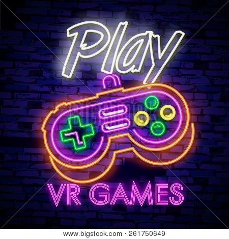 Video Games logos collection neon sign Vector design template. Conceptual Vr games, Retro Game night logo in neon style, gamepad in hand, modern trend design, light banner. Vector illustration stock photo