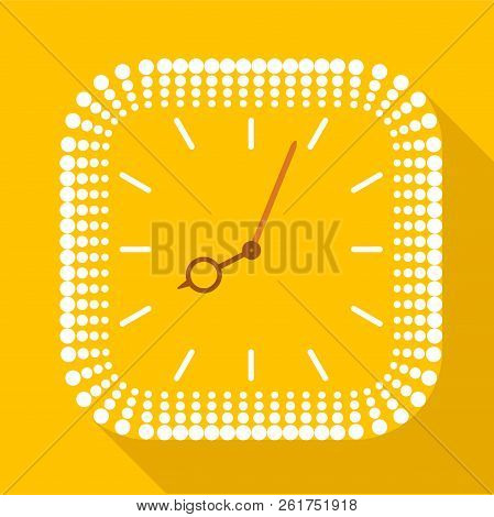 Square clock without numbers icon. Flat illustration of square clock without numbers icon for web stock photo