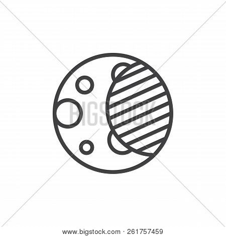 Moon Eclipse Outline Icon Linear Style Sign For Mobile Concept