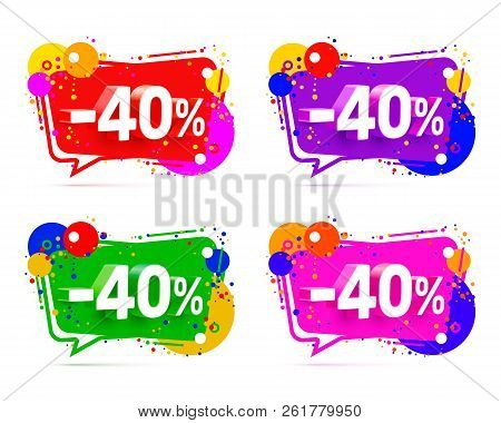 Banner 40 off with share discount percentage, color set. Vector illustration stock photo