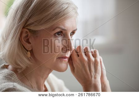 Thoughtful Serious Anxious Mature Senior Woman Feeling Worried A