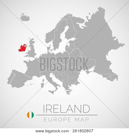 Map of European Union with the identication of Ireland. Map of Ireland. Political map of Europe in gray color. European Union countries. Vector stock. stock photo